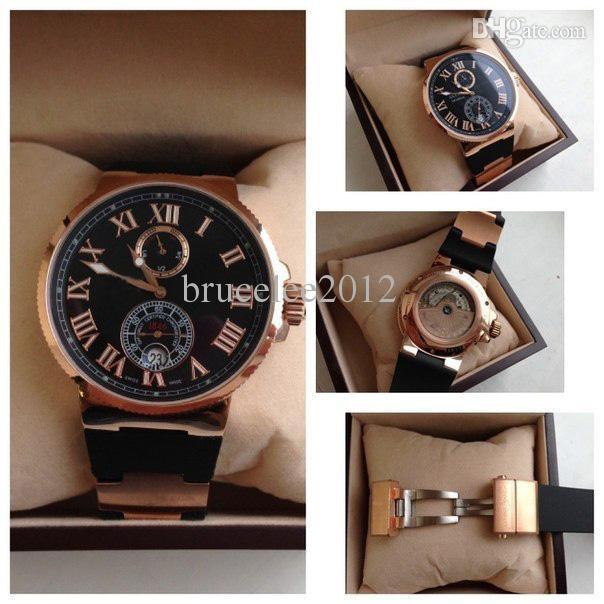 Alta Qualtiy Top Marca de Luxo Subiu de Ouro 18 K UN Roman Relógios De Borracha Preta Moda Movimento Mecânico Dos Homens Edição Limitada Homens relógios de Pulso