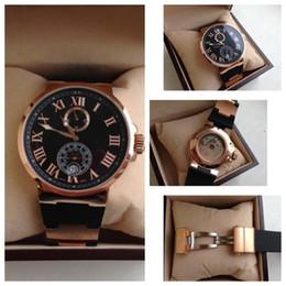 2019 reloj de lujo de edición limitada Alta calidad Top Brand Luxury Gold Gold 18K UN Romano Negro Goma Relojes Moda Hombres Movimiento mecánico Edición limitada Hombres Relojes de pulsera rebajas reloj de lujo de edición limitada