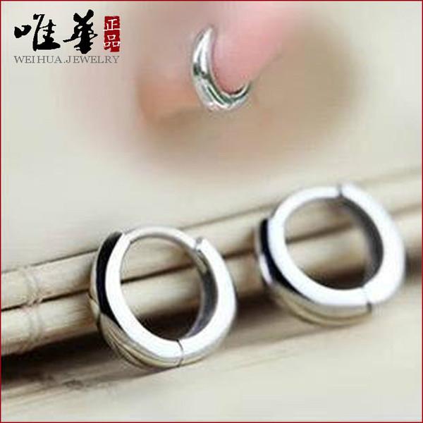 925 sterling silver earrings hypoallergenic earrings Korean female models cute little glossy buckle ear ear ear ring jewelry