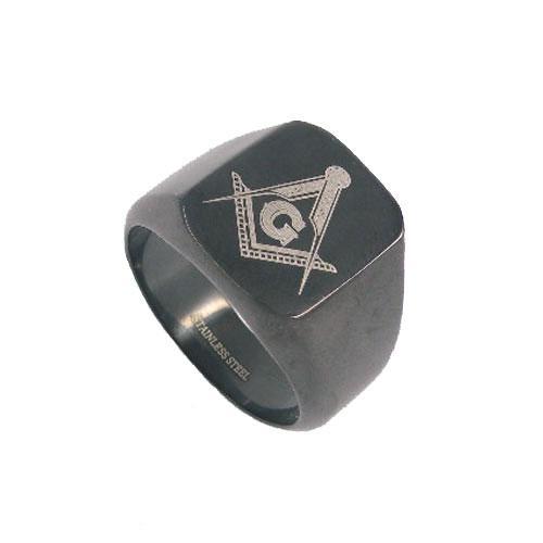 Gratis frakt! Svart pläterad masonic ring rostfritt stål smycken klassisk frimureri mason motor biker män ring sjr0009b