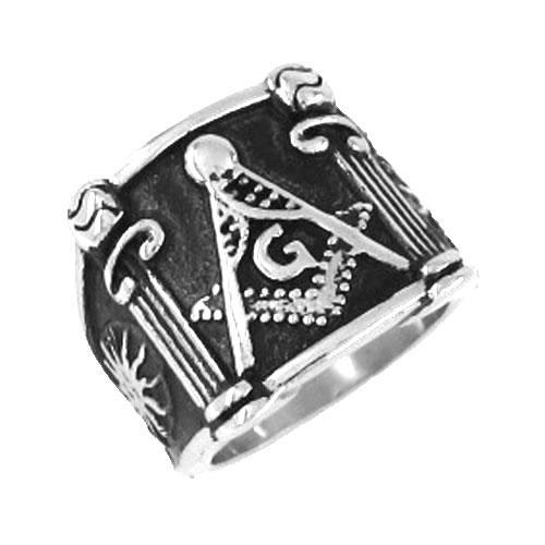 الشحن مجانا! الماسونية الدائري الفولاذ المقاوم للصدأ والمجوهرات الكلاسيكية الماسونية ماسوني الدائري SJR0019