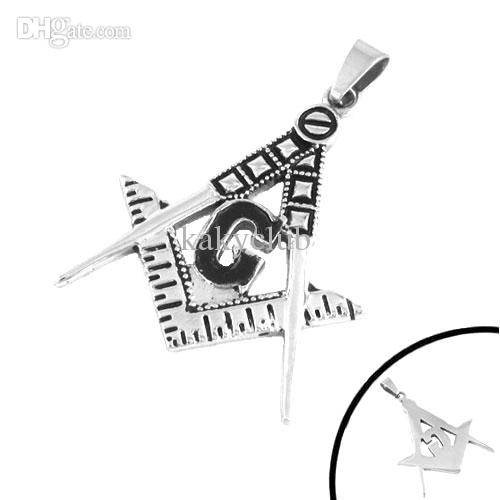 Gratis frakt! Freemasonry Masonic Pendant Stainless Steel Smycken Svart Hänge SWP0103