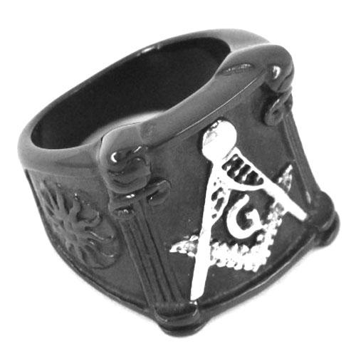 Spedizione gratuita! Anello massonico placcato in nero Gioielli in acciaio inossidabile Anello massonico classico Massoneria SJR0019B