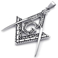 Mens Freemason Masonic Stainless Steel Pendant Necklace, Sil...