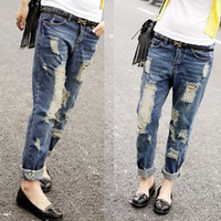 Wholesale Cotton Collapse - 2015 promotion time-limited hollow out patchwork mid korean boyfriend jeans big yards loose drawing hole collapse ripped jeans for women