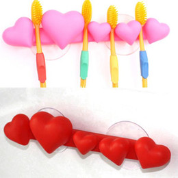Wholesale Toothbrush Holder Family Wholesale - 10pcs Lot Free Shipping Five Heart Tied Toothbrush Holder Family Bathroom Wall Mount Rack Suction Cup