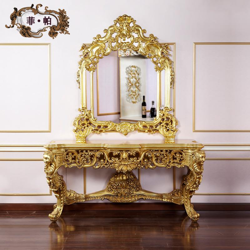 2019 French Style Furniture Baroque Golden Foil Cracking Paint