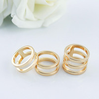 Wholesale Three Finger Ring Women - New Fashion Jewelry Spring Concise Gold Plated Alloy Hollow Out Three Pieces Set Finger Rings for Women