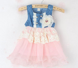 Wholesale Gauze Clothing Wholesale - Wholesale - New Summer Girls Denim Dress Baby Dress Kids Tutu Princess Dresses Lace Flower Dresses And Gauze Hem Children Clothing Dress