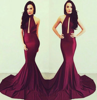Wholesale Top Quality Satin Mermaid - 2014 Top Quality Sexy Mermaid Evening Dress High Neck Burgundy Spandex Elastic Hot Selling Fancy Backless Formal Party Dresses