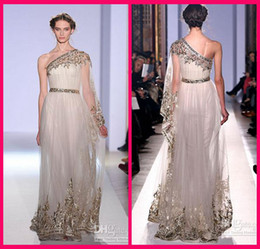 Wholesale Zuhair Murad One Sleeve Lace - Zuhair Murad Fall Winter Long Sleeve Prom Dresses Sheath One-Shoulder Tulle Appliques Beads Sequins Sash Pageant Gown Formal Dress