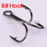 Wholesale treble hook wholesalers - 2014 New Black Color Fishing Equipment 6# Fishing Hook High Carbon Steel Treble Hooks Fishing Tackle 500pc Lot Free Shipping