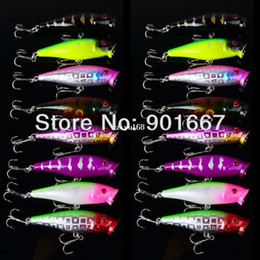 Wholesale Wholesale Soft Plastic Baits - 2013 Hot selling Popper Lure 8color 7.5cm 8.2g top water magician Popper hard bait,plastic fishing lure,30pcs lot,freeshipping