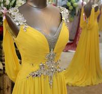 Wholesale Dress Prom Swarovski - Wholesale - Charming Amazing Swarovski Crystals V Neck Floor Length Chiffon Prom Party Dress Evening Dresses