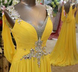 Wholesale Dress Prom Swarovski - Wholesale Charming Amazing Swarovski Crystals V Neck Floor Length Chiffon Prom Party Dress Evening Dresses 2017