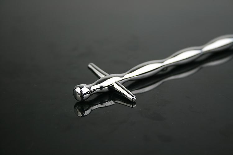 Man 304 Rostfritt Stål Kors Urmetral Sounding Bead Sträckning Stimulera Penis Plug Chastity Belt Device BDSM Sex Toy 907