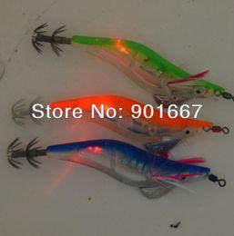 Wholesale Led Flashing Lure - 2013 - fishing lures LED squid jig fishing tackle flash fishing bait 3.0# 12cm With retail box 8pcs Free Shipping