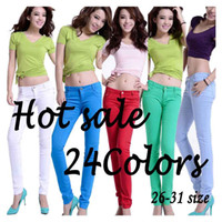 Wholesale Silver Jeans Wholesaler - Lower price Promotion before day of 5.10 for new Female Casual Slim Candy-colors Pencil Jeans Skinny Jeans Hot sale Capris
