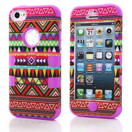 Wholesale Tribal Hybrid - 3 in 1 Hybrid Hard Soft Red Tribal Tribe Heavy Duty Cover Case For iPhone 5c 100pcs