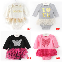 Wholesale Striped Infant Princess Dress - 2014 girl set Baby Romper Princess Romper Dress Infant Girls Newborn Romper tutu Dress Cake Skirt Sets 0-1T