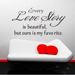 Wholesale Sticker Love Story - S5Q Love Story Quote Vinyl DIY Wall Decal Art Sticker Home Decor Lettering Words AAADDH