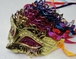 Wholesale Gold Masquerade Masks For Women - Mens & Woman Mask Halloween Masquerade Masks Mardi Gras Venetian Dance Party Face gold shining plated Mask 6 colors