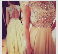 Wholesale Elegant Sweetheart Sequin Prom Dress - 2015 Elegant Floor Length Pageant gowns Evening Gown Sequins Beaded Cap Sleeve Champagne Chiffon Prom Dresses