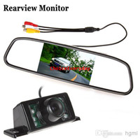 Atacado 4.3 polegadas TFT LCD Display Espelho Retrovisor / Monitor + 7 IR Luzes Night Vision Reverse Backup Camera CMO_345