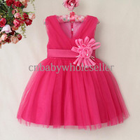 Wholesale Watermelon Fancy Dress - Girls New Fashion Fancy Dresses Hot Pink Cotton And Polyester Party Dresses With Belt And Flower Children Fancy Dresses GD40418-6