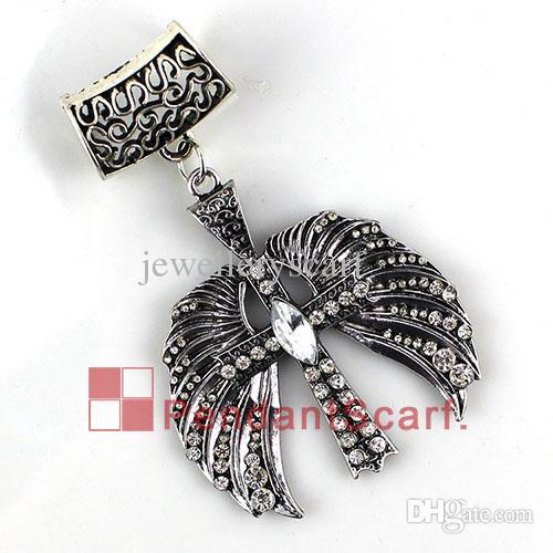 12 pz / lotto hot fashion gioielli fai da te ciondolo sciarpa risultati lega di metallo strass angelo ala croce sciarpa pendente set, trasporto libero, AC0286