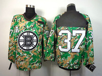 Wholesale Cheap Camo Uniforms - Bruins #37 Patrice Bergeron Camo Green Ice Hockey Jerseys Cheap Stitched Jersey New Team Jersey Mens High Quality Hockey Uniform Wears Sale