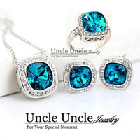 Wholesale White Gold Color Royal Design Square Classic Blue Crystal Jewelry Set Necklace Ring Earring