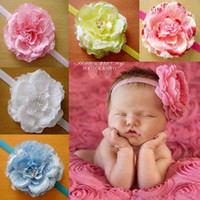 Wholesale Lace Peony Flowers - mix color Peony flower baby flower headband Hair Accessories Kids Headband Babies Toddler Head Band BA16 5colors