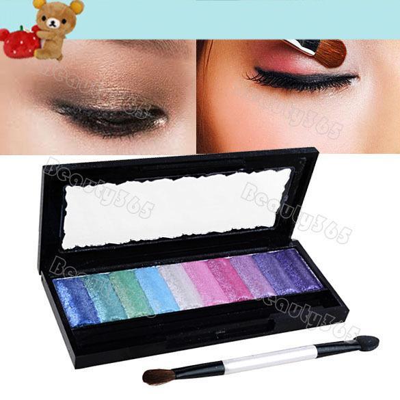 New 10 Cores Cozido Paleta De Sombra Glitter Pro Maquiagem Cosméticos Pigmento Sombra Set 4381