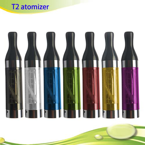 E Cigarettes T2 Clearomizer Atomizer 2.4ml Tank Colorful Replacement for Electronic Cigarette ego-t ego vision Spinner battery DHL free