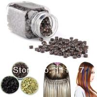 penas de cabelo venda por atacado-1000 pcs 3 Cores Extensões Do Cabelo Da Pena de Silicone Beads, Anel de Cabelo Beads Atacado 3246