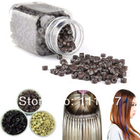 Wholesale feather hair extension beads for sale - Group buy 1000pcs Colors Feather Hair Extensions Silicone Beads Hair Ring Beads
