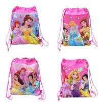 Wholesale Wholesale Princess Drawstring Backpack - MOQ=10PCS Princess Children Drawstring Backpack Bags,Shopping School Traveling GYM bags,waterproof fabric,Party Gift Kids Cartoon Bags