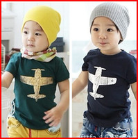 Wholesale Girls Plane T Shirt - 15% Discount price kids clothes pure cotton plane picture short sleeve boys girls T shirt 2-6Year children tee shirts baby T shirt 5pc