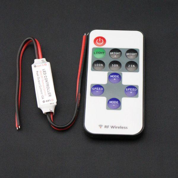 미니 RF LED 컨트롤러 5050 / 3528에 대 한 무선 원격 제어 미니 조 광기를 사용 하여 단일 컬러 스트립 조명 5-24V