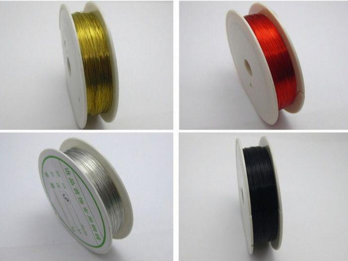 Hot ! 4 Rolls Mixed Colour Copper Beading Jewelry Wire For Wrapping 28 gauge(70)