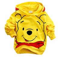 Wholesale Hoodie Bear Sweatshirts - Best selling Children Cotton Cartoon Yellow Bear children boy's Hoodies & Sweatshirts