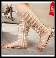 Flat Heel black flat bootie - Sexy hollow out gladiator sandal women Roman style high top long bootie sandals with zipper flat sandals colors