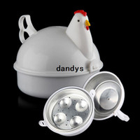 Wholesale Egg Boilers - Free Shipping NEW Chicken Shaped Microwave 4 Eggs Boiler Cooker NOVELTY Kitchen Cooking Appliances Steamer Home Tool,dandys
