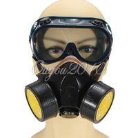 endüstriyel camlar toptan satış-Endüstriyel Çift Gaz Filtresi Kimyasal Anti-Toz Boya Maskesi Maskesi + Gözlük Gözlük Set Güvenlik Ekipmanları Koruma, dandys