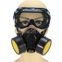 segurança industrial venda por atacado-Filtro de gás duplo industrial Químico Anti-pó Paint Respirator Mask + Óculos Goggles Set Safety Equipment Protection, dandys