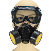 Wholesale Industrial Respirator Masks - Industrial Double Gas Filter Chemical Anti-Dust Paint Respirator Mask + Glasses Goggles Set Safety Equipment Protection,dandys
