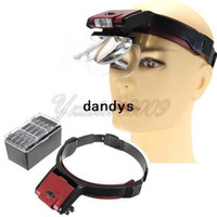 Wholesale Double Magnifying Glass - 4 Lens 1.7x 2x 2.5x 3x Double-lens Head Headband LED Headlamp Lighted Magnifier Magnifying Glass Function Loupe Free Shipping,dandys