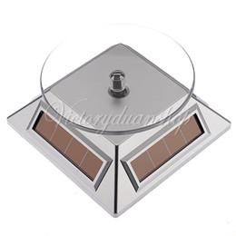Ücretsiz Kargo 3 adet Gümüş 360 Dönen Güneş Enerjili Cep Telefonu İzle Takı Turntable Turn Masa Plaka Ekran Standı, dandys
