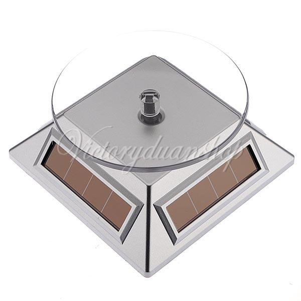 Free Shipping 3pcs Silver 360 Rotating Solar Powered Cell Phone Watch Jewelry Turntable Turn Table Plate Display Stand,dandys